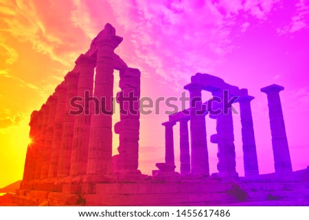 Temple of Poseidon with a Corona Effect at Cape Sounion Greece - A Beautiful Photo with Orange and Magenta Colors for Marketing, Wallpaper, Postcard, Marketing, Video, Banner, Web and Campaign
