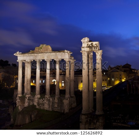 Temple of Saturn in the roman forum (Rome,Italy)