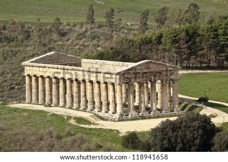 Temple of Segesta from above front hill, western Sicily