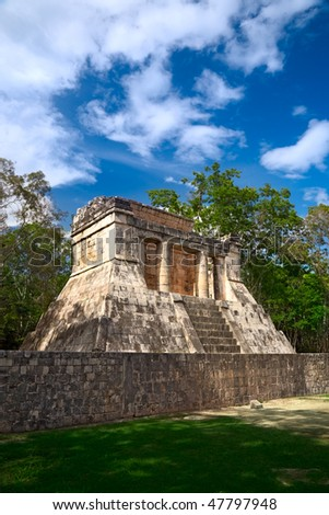 """Temple of the Bearded Man at the end of Great Ball Court for playing """"pok-ta-pok"""" near Chichen Itza pyramid, Mexico"""
