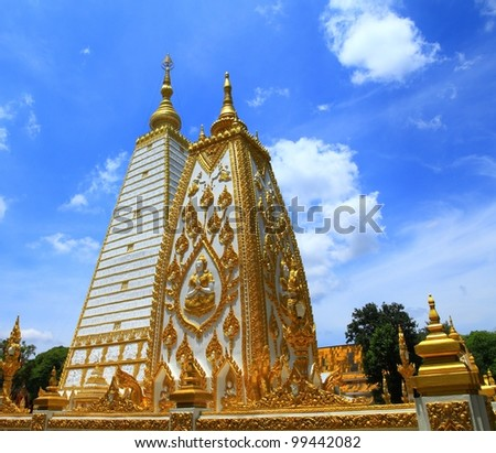 Temple of the Buddha in the provinces of Thailand. Wat Phra That Bua. - stock photo