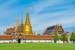 Temple of the Emerald Buddha or WAT PHRA KAEW a tourist landmark in Bangkok Thailand. WAT PHRA KAEW is a tourist destination and famous landmarks in Thailand. Thai architecture travel attraction.