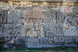 Temple of the Feathered Serpent in Xochicalco. Archaeological site in Cuernavaca, Mexico with nobody