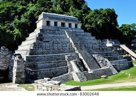 Temple of the Inscriptions - Palenque, Chiapas, Mexico - stock photo