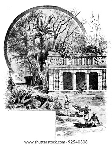 "Temple of the Maya. Engraving on steel by Shpeer. Published in literary magazine ""Niva"",""Publishing house of A.F. Marx», Saint-Petersburg, Russia, 1893"