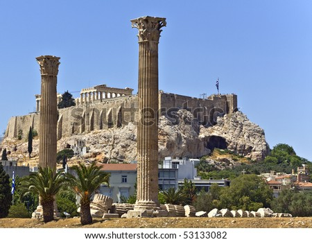 Temple of the Olympian Zeus and the Acropolis in Athens, Greece