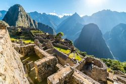 Temple of the Sun, Machu Picchu site, Cusco, Peru, South America