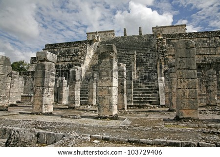 temple of the warriors and a thousand pillars in Chichen Itza Mexico