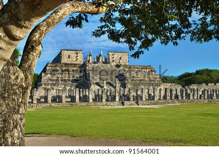 Temple of the Warriors in Chichen Itza, Quintana Roo, Mexico. Mayan ruins  near Cancun.