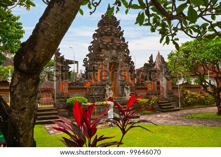 Temple of traditional national architecture on island Bali
