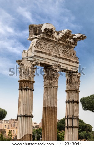 Temple of Venus Genetrix, 46 b.C. with columns and capitals in Corinthian style, Roman Forum, Rome, UNESCO world heritage site, Italy, Latium, Europe #1412343044
