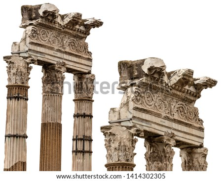 Temple of Venus Genetrix isolated on white, 46 bC. with columns and capitals in Corinthian style, Roman Forum, Rome, UNESCO heritage, Italy, Latium, Europe #1414302305