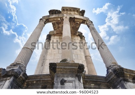 Temple of Vesta, the site in the Roman Forum that held the Sacred Fire of Vesta, tended by the Vestal Virgins.
