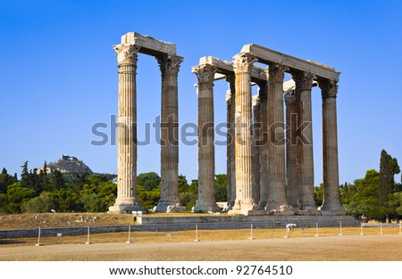 Temple of Zeus and Lycabettus hill at Athens, Greece - travel background