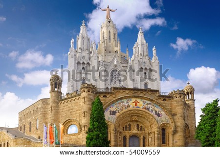 Temple on mountain top - Tibidabo  in Barcelona city. Spain - stock photo