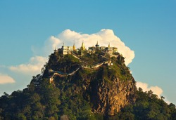 temple on top of a mountain Popa in the clouds, Mount Popa, Myanmar(Burma), november 2014