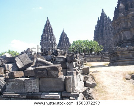 Temple reconstruction. The stones in Prambanan Indonesia.