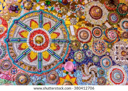 Temple Thailand, Wat Pra That Pha Son Keaw Buddhism decorated with colorful ceramic in Petchaboon Thailand, Unseen Buddhism crafts religions handwork on fancy color glass and ceramic tiles decoration.