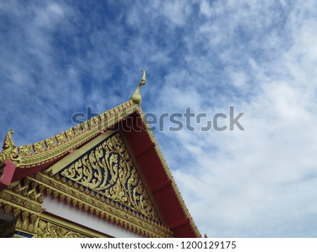 Temple , the blue sky with temple , Buddhist temple #1200129175