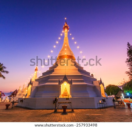 Temple Wat Phra That Doi Kong Mu. Mae Hong Son, Thailand, They are public domain or treasure of Buddhism, no restrict in copy or use