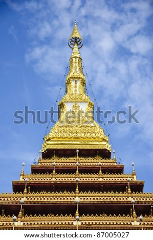 Temple with Buddha's relics on the top in Wat Nong Waeng, Khonkaen, Thailand