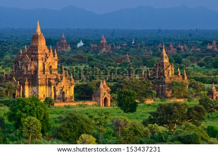 Temples at the sunset Bagan Myanmar
