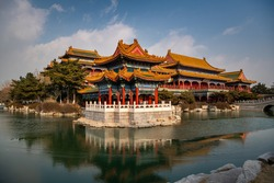 Temples in Penglai old town, Shandong, China. Copy space for text, background