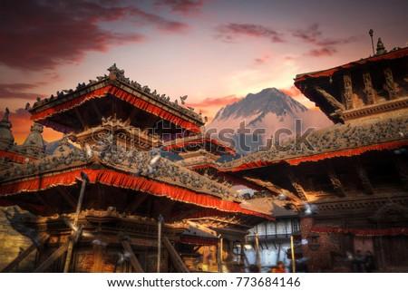 Temples of Durbar Square in Bhaktapur, Kathmandu valey, Nepal.
