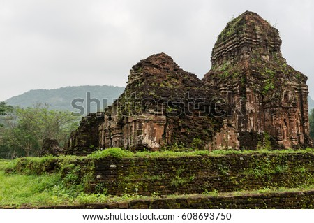 Temples of Indian Hinduism at My Son Sanctuary in Vietnam.  My Son is a cluster of Hindu temples constructed between the 4th and 14th centuries and is a UNESCO World Heritage Site inscribed in 1999. #608693750