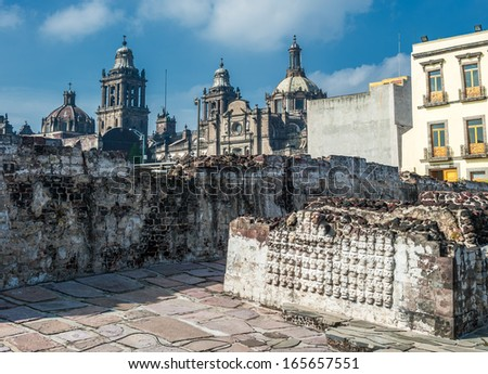 Templo mayor, the historic center of Mexico city