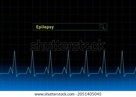 Temporal lobe epilepsy.Temporal lobe epilepsy inscription in search bar. Illustration with titled Temporal lobe epilepsy . Heartbeat line as a symbol of human disease. Foto stock ©