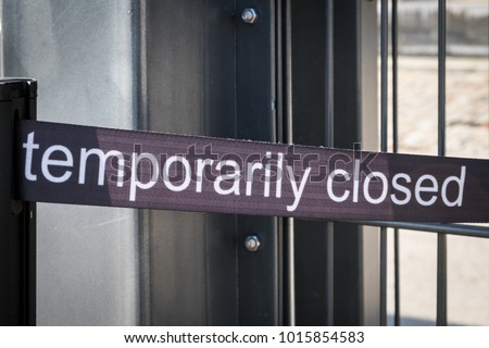 temporarily closed banner - temporarily closed sign outdoor exhibition, #1015854583
