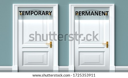 Temporary and permanent as a choice - pictured as words Temporary, permanent on doors to show that Temporary and permanent are opposite options while making decision, 3d illustration