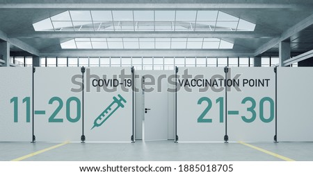 Temporary Covid-19 vaccination center against coronavirus in the exhibition hall for protective vaccinations (3D Rendering) ストックフォト ©