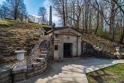 Temporary Lincoln Tomb in Oak Ridge Cemetary in Springfield, Illinois