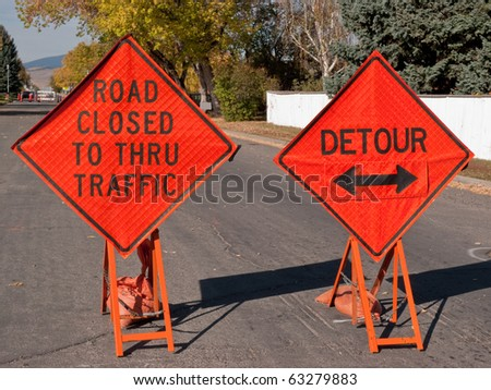 detour road sign. stock photo : Temporary signs