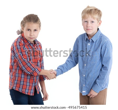 Temporary truce - children shake hands, isolated white background