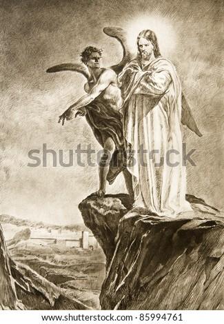 Temptation of Christ on desert - drawing