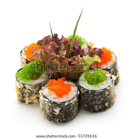 Tempura Maki Sushi - Roll with Salmon and Tobiko