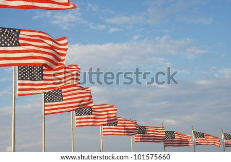 Ten American flags flying at Washington National Monument, Washington, D.C.
