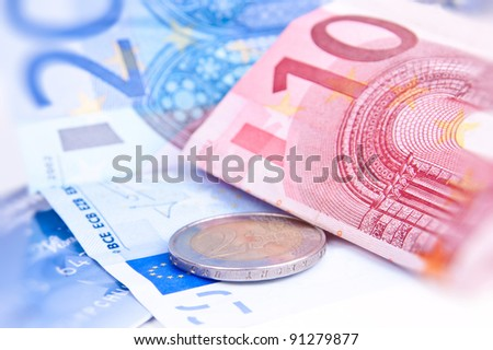 ten and twenty euro on white background