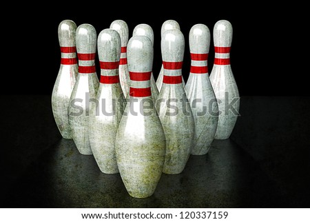 Ten bowling pins in alignment. Group togetherness Concept.