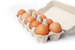 ten chicken eggs in a cage on a white background. isolated