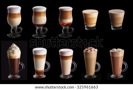 Ten coffee coctails collage set isolated on black background #325961663