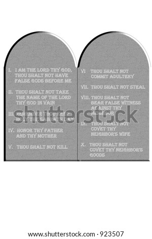 Ten Commandments etched on stone tablets isolated on a white background
