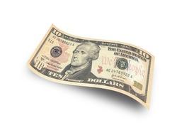 ten dollar banknote on white background