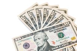 Ten dollar bills isolated on white background