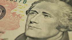 Ten Dollars and portrait Alexander Hamilton on USA money banknote