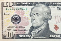 Ten dollars bill fragment macro