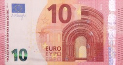 Ten euro bank note finance currency close up detail money fragment